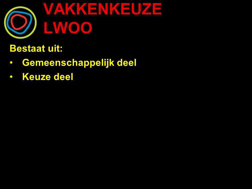VAKKENKEUZE LWOO Leerjaar 3 en 4 gemeenschappelijke vakken: Nederlands Engels Wiskunde Rekenen Maatschappijleer Bewegingsonderwijs CKV Mentorles Dienstverlening en Producten