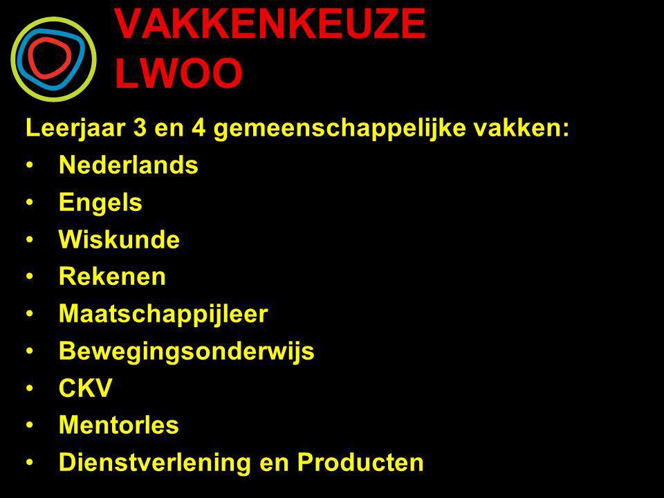 VAKKENKEUZE LWOO Leerjaar 3 en 4 gemeenschappelijke vakken: Nederlands Engels Wiskunde Rekenen Maatschappijleer Bewegingsonderwijs CKV Mentorles Diens