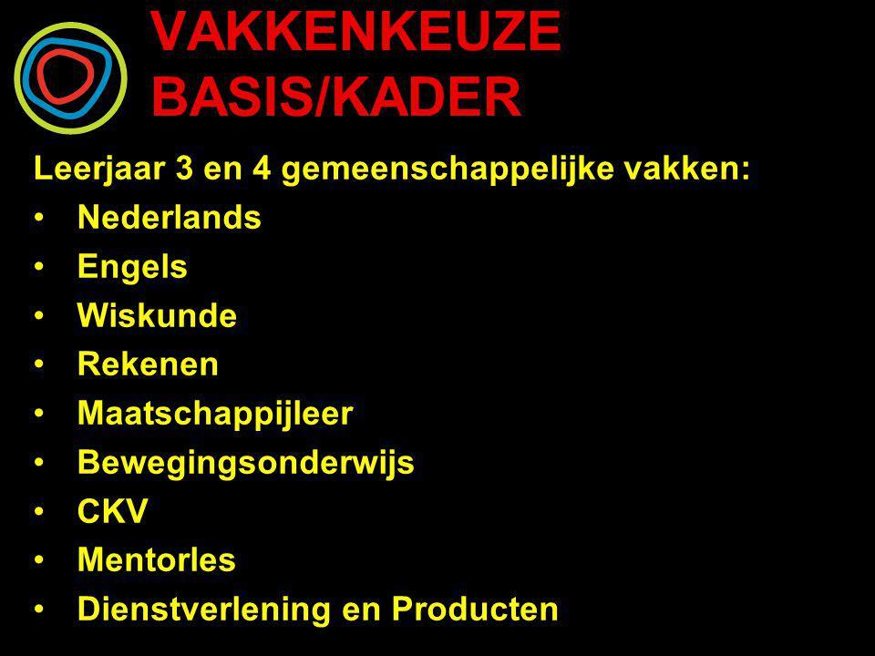 VAKKENKEUZE BASIS/KADER Leerjaar 3 en 4 gemeenschappelijke vakken: Nederlands Engels Wiskunde Rekenen Maatschappijleer Bewegingsonderwijs CKV Mentorle