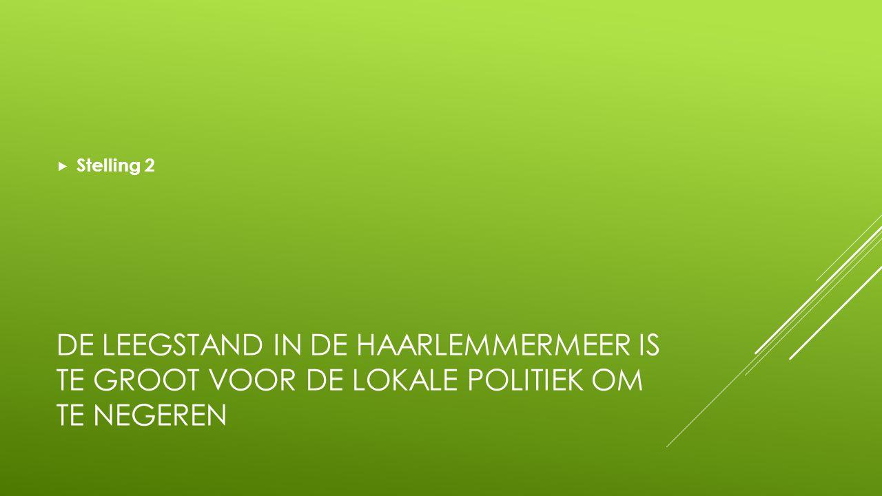 DE LEEGSTAND IN DE HAARLEMMERMEER IS TE GROOT VOOR DE LOKALE POLITIEK OM TE NEGEREN  Stelling 2