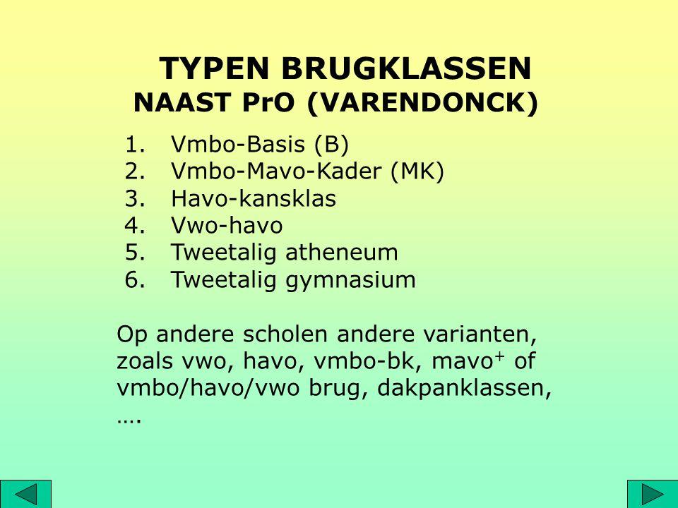 1. Vmbo-Basis (B) 2. Vmbo-Mavo-Kader (MK) 3. Havo-kansklas 4. Vwo-havo 5. Tweetalig atheneum 6. Tweetalig gymnasium Op andere scholen andere varianten