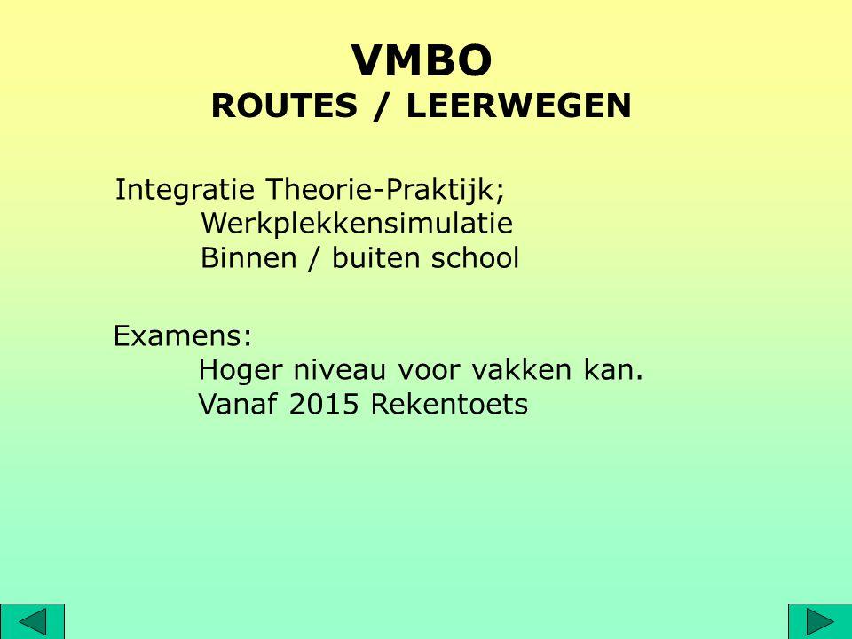 VMBO ROUTES / LEERWEGEN Examens: Hoger niveau voor vakken kan. Vanaf 2015 Rekentoets Integratie Theorie-Praktijk; Werkplekkensimulatie Binnen / buiten