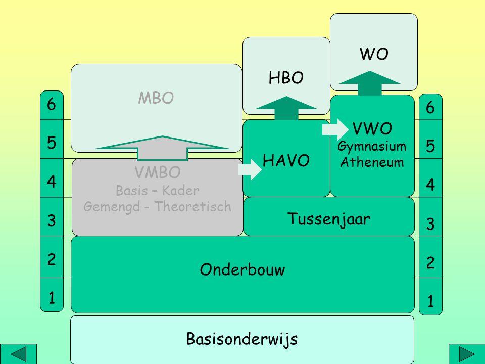 HAVO - VWO (Gymnasium – Atheneum) Leerjaar 1-2: Onderbouw Leerjaar 3: Tussenjaar Voorbereiding bovenbouw met verdieping/verrijking of bijspijkeren Leerjaar 4-5 of 6: Tweede fase, profielkeuze HBO (havo) of WO (wo) extra vakken of vakken op hoger niveau studielast, maatwerk, plannen