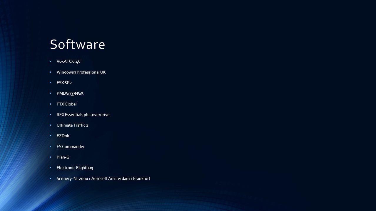 Software VoxATC 6.46 Windows 7 Professional UK FSX SP2 PMDG 737NGX FTX Global REX Essentials plus overdrive Ultimate Traffic 2 EZDok FS Commander Plan