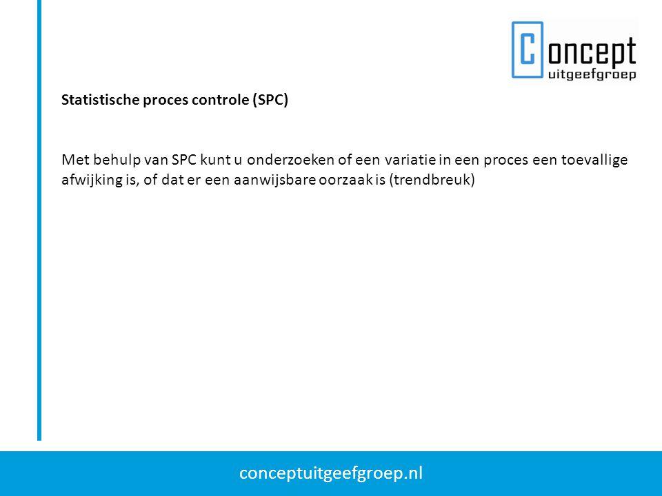 conceptuitgeefgroep.nl Statistische proces controle (SPC) Met behulp van SPC kunt u onderzoeken of een variatie in een proces een toevallige afwijking
