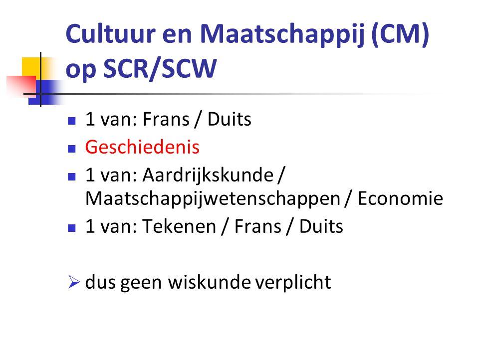 Economie en Maatschappij (EM) op SCR/SCW 1 van: Wiskunde A / Wiskunde B Geschiedenis Economie 1 van: Management & Organisatie / Maatschappijwetenschappen / Aardrijkskunde / Frans / Duits  wiA of wiB hangt af van vervolgopleiding