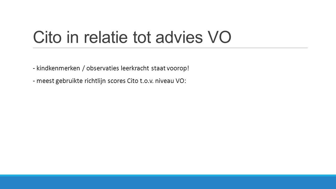 Cito in relatie tot advies VO - kindkenmerken / observaties leerkracht staat voorop! - meest gebruikte richtlijn scores Cito t.o.v. niveau VO: