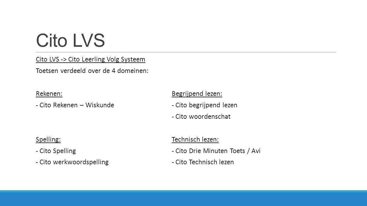 Cito LVS Cito LVS -> Cito Leerling Volg Systeem Toetsen verdeeld over de 4 domeinen: Rekenen: - Cito Rekenen – Wiskunde Spelling: - Cito Spelling - Ci