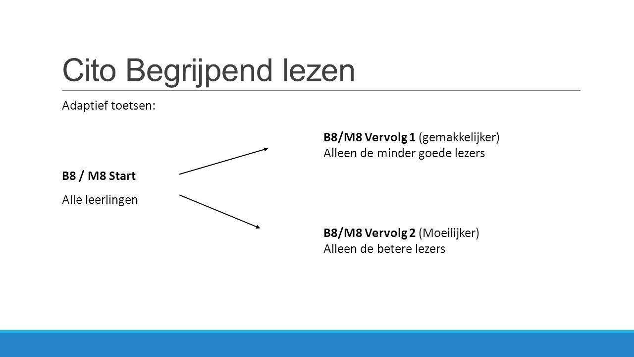 Cito Begrijpend lezen Adaptief toetsen: B8 / M8 Start Alle leerlingen B8/M8 Vervolg 1 (gemakkelijker) Alleen de minder goede lezers B8/M8 Vervolg 2 (M