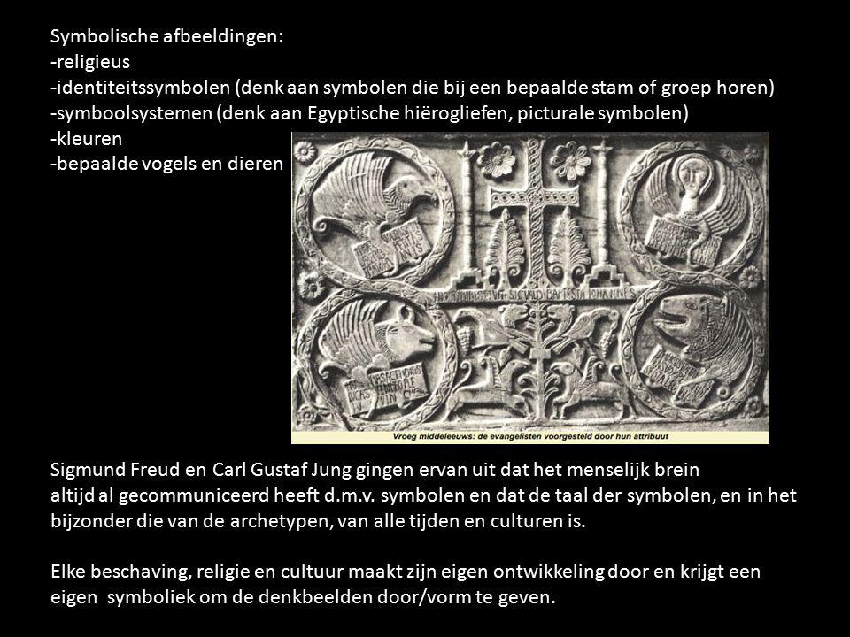 Symbolische afbeeldingen: -religieus -identiteitssymbolen (denk aan symbolen die bij een bepaalde stam of groep horen) -symboolsystemen (denk aan Egyp