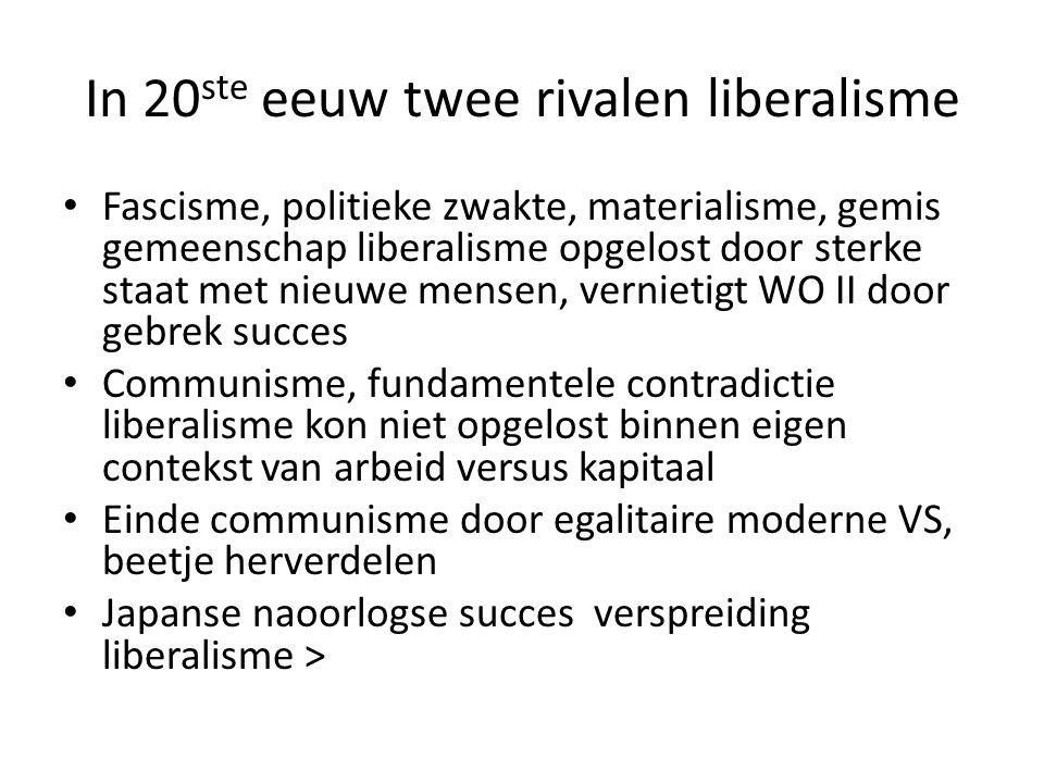 In 20 ste eeuw twee rivalen liberalisme Fascisme, politieke zwakte, materialisme, gemis gemeenschap liberalisme opgelost door sterke staat met nieuwe