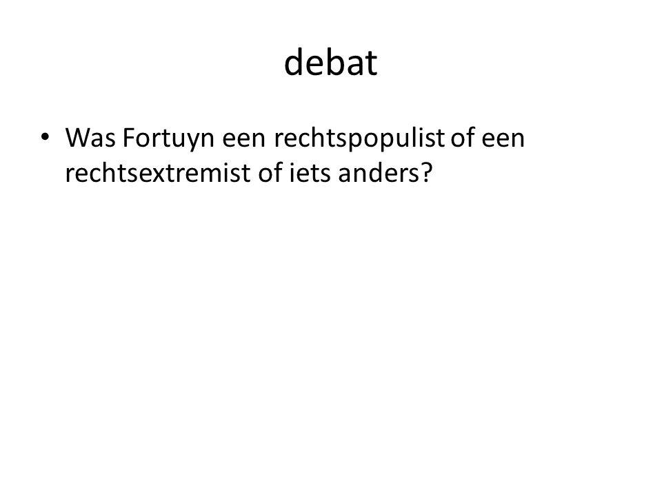 debat Was Fortuyn een rechtspopulist of een rechtsextremist of iets anders?