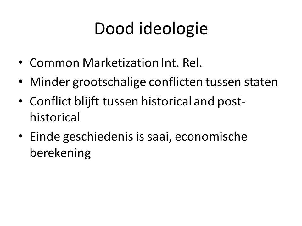 Dood ideologie Common Marketization Int. Rel. Minder grootschalige conflicten tussen staten Conflict blijft tussen historical and post- historical Ein