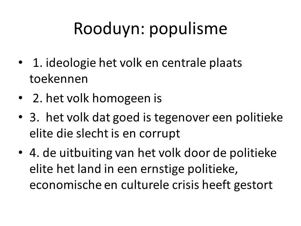 Rooduyn: populisme 1. ideologie het volk en centrale plaats toekennen 2. het volk homogeen is 3. het volk dat goed is tegenover een politieke elite di