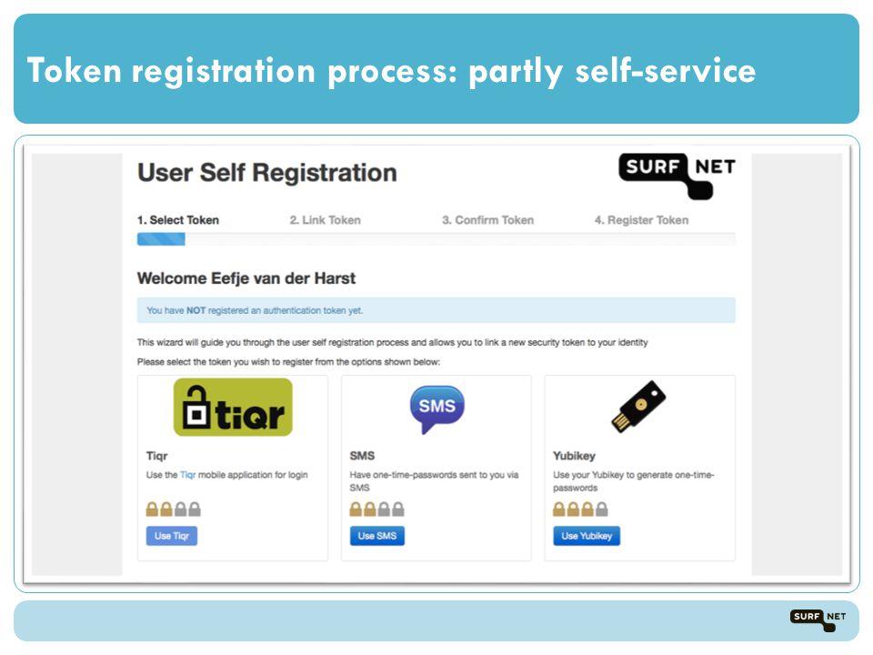 Token registration process: partly self-service