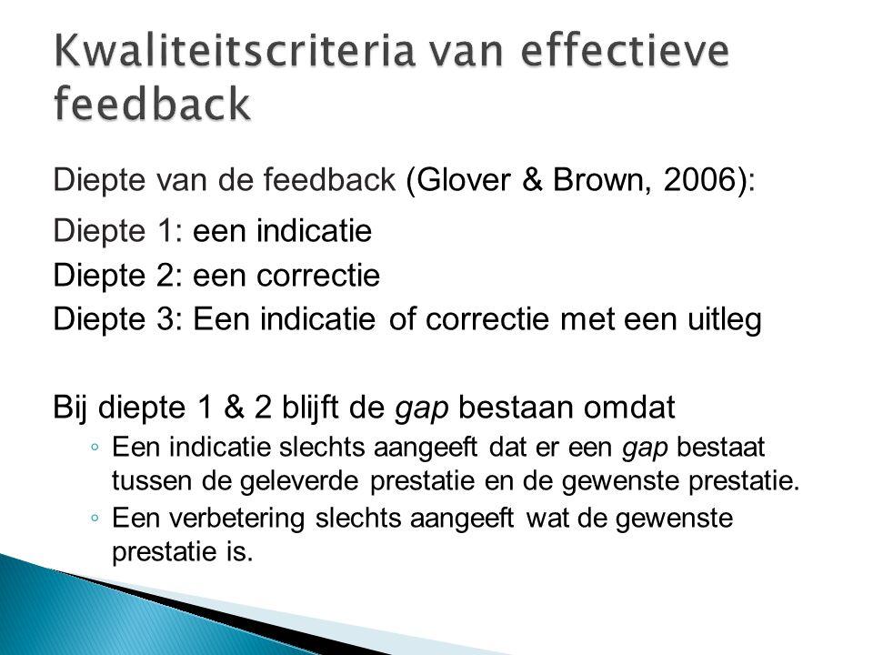Diepte van de feedback (Glover & Brown, 2006): Diepte 1: een indicatie Diepte 2: een correctie Diepte 3: Een indicatie of correctie met een uitleg Bij