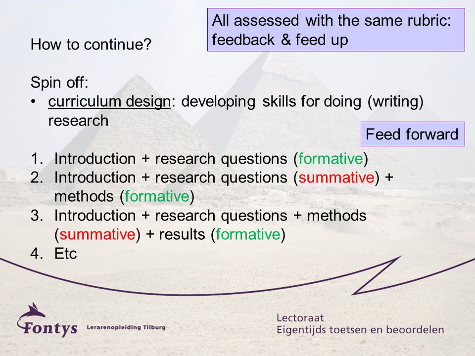 How to continue? Spin off: curriculum design: developing skills for doing (writing) research 1.Introduction + research questions (formative) 2.Introdu