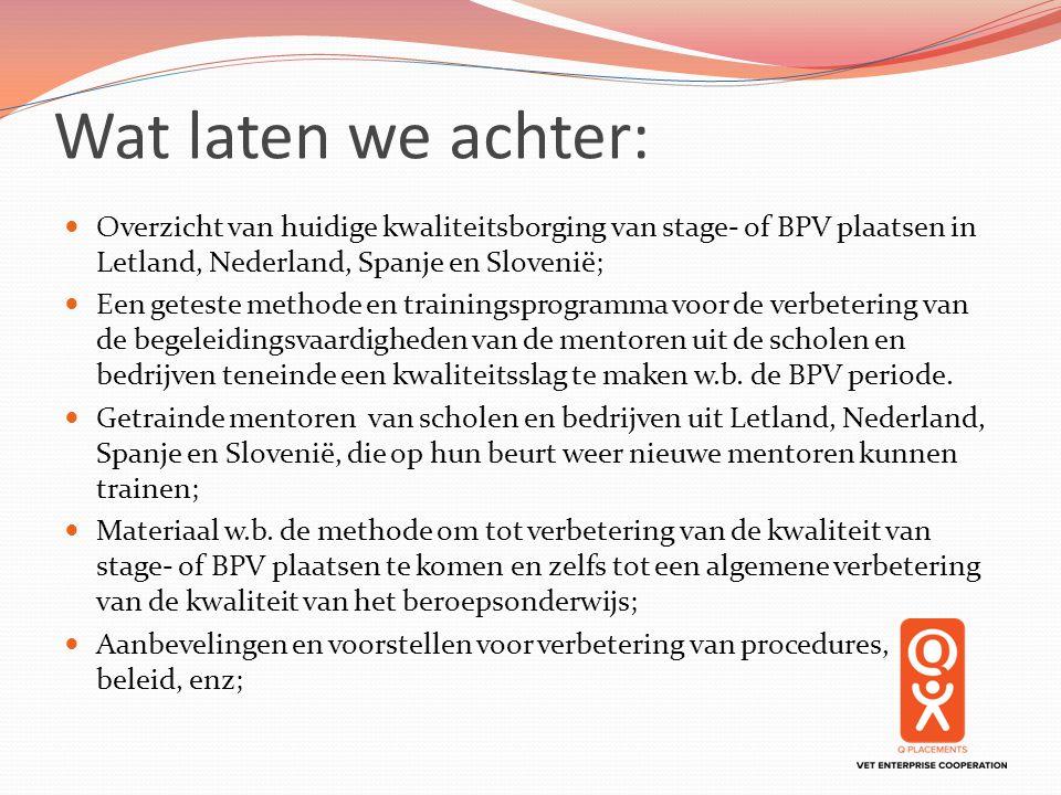 Wat laten we achter: Overzicht van huidige kwaliteitsborging van stage- of BPV plaatsen in Letland, Nederland, Spanje en Slovenië; Een geteste methode