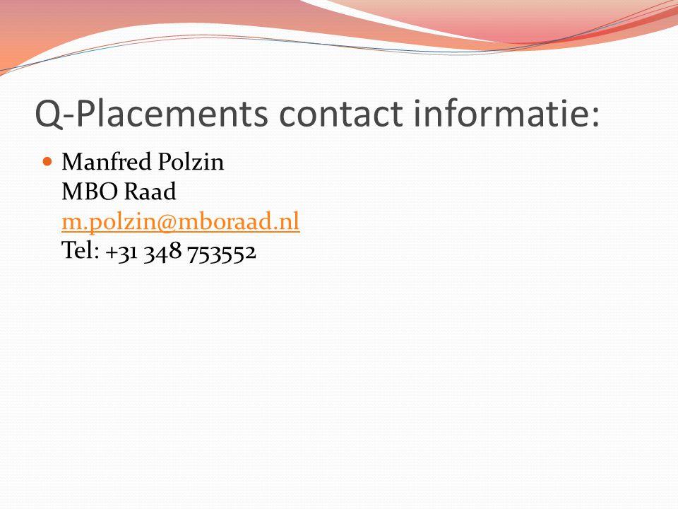 Q-Placements contact informatie: Manfred Polzin MBO Raad m.polzin@mboraad.nl Tel: +31 348 753552 m.polzin@mboraad.nl