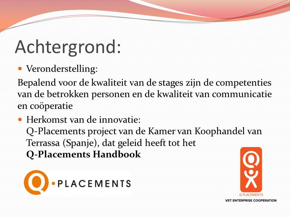 Achtergrond: Veronderstelling: Bepalend voor de kwaliteit van de stages zijn de competenties van de betrokken personen en de kwaliteit van communicati