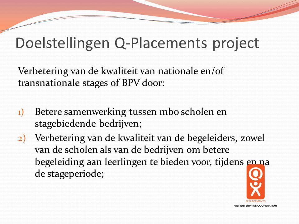 Doelstellingen Q-Placements project Verbetering van de kwaliteit van nationale en/of transnationale stages of BPV door: 1) Betere samenwerking tussen