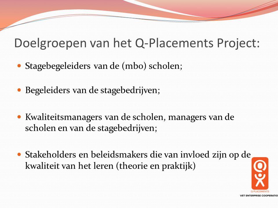 Doelgroepen van het Q-Placements Project: Stagebegeleiders van de (mbo) scholen; Begeleiders van de stagebedrijven; Kwaliteitsmanagers van de scholen,