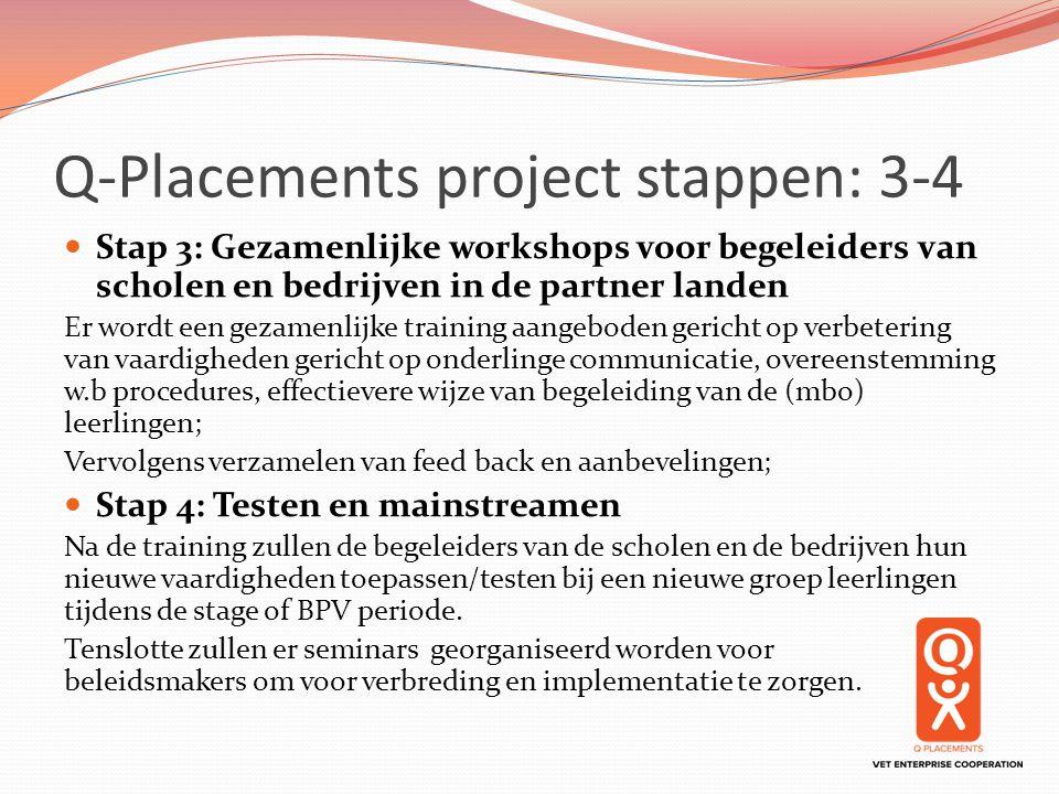 Q-Placements project stappen: 3-4 Stap 3: Gezamenlijke workshops voor begeleiders van scholen en bedrijven in de partner landen Er wordt een gezamenli