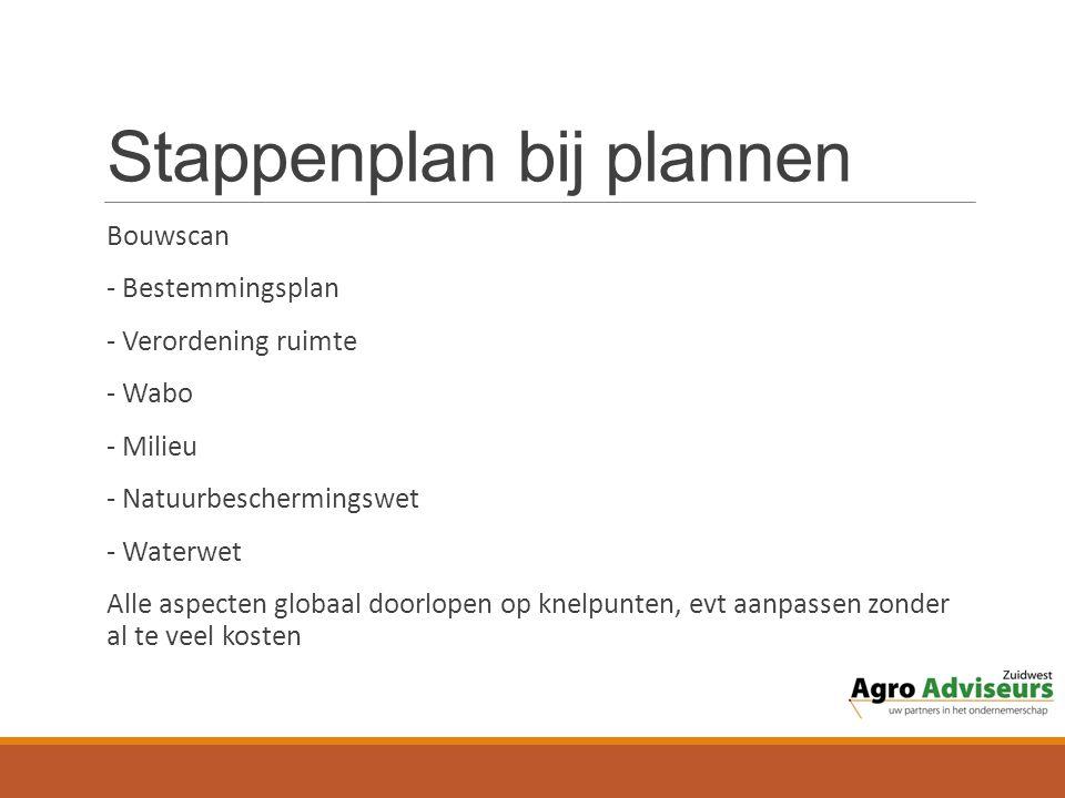 Stappenplan bij plannen Bouwscan - Bestemmingsplan - Verordening ruimte - Wabo - Milieu - Natuurbeschermingswet - Waterwet Alle aspecten globaal doorlopen op knelpunten, evt aanpassen zonder al te veel kosten