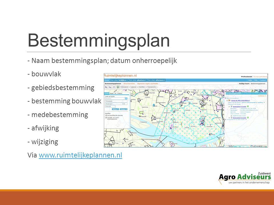 Bestemmingsplan - Naam bestemmingsplan; datum onherroepelijk - bouwvlak - gebiedsbestemming - bestemming bouwvlak - medebestemming - afwijking - wijziging Via www.ruimtelijkeplannen.nlwww.ruimtelijkeplannen.nl