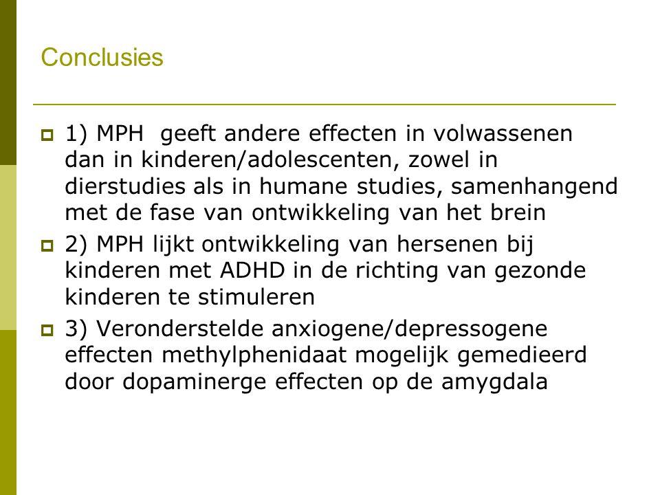 Conclusies  1) MPH geeft andere effecten in volwassenen dan in kinderen/adolescenten, zowel in dierstudies als in humane studies, samenhangend met de