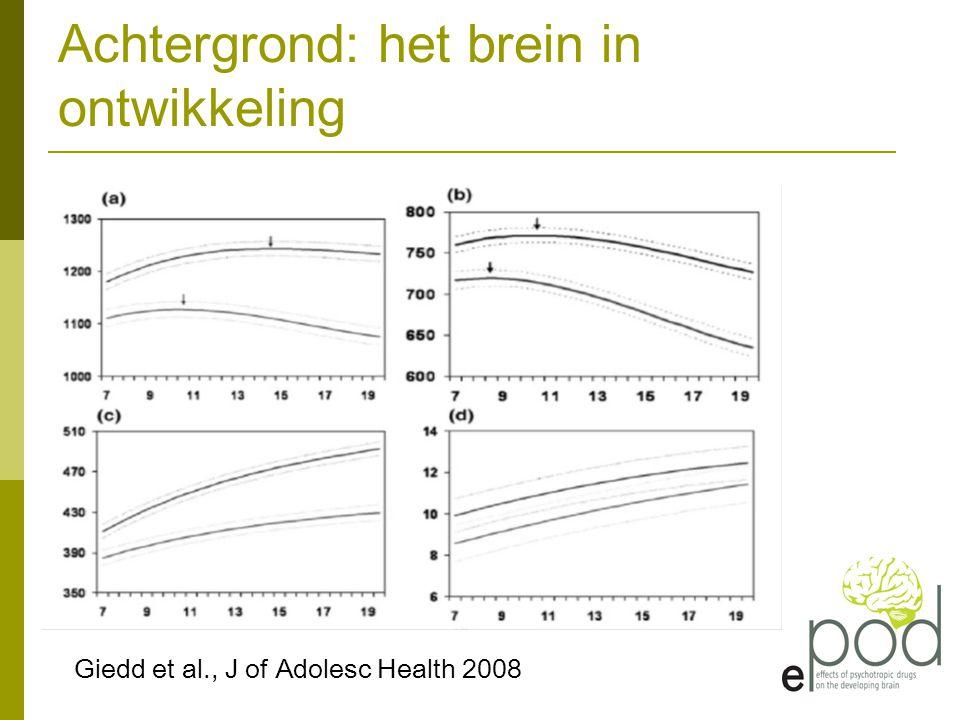 Achtergrond: het brein in ontwikkeling Giedd et al., J of Adolesc Health 2008