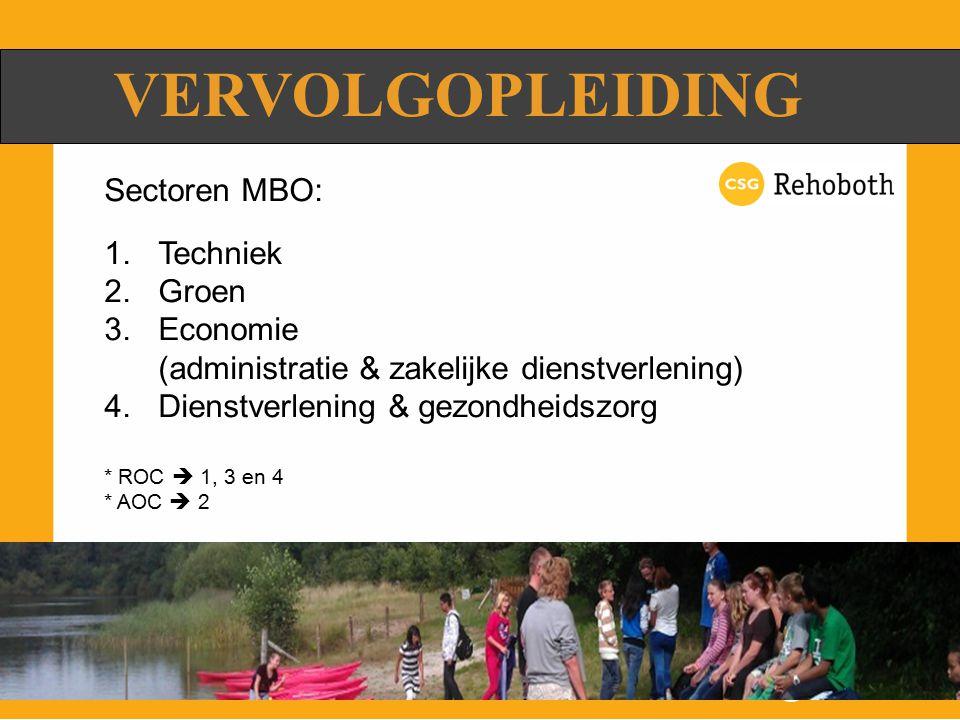VERVOLGOPLEIDING Sectoren MBO: 1.Techniek 2.Groen 3.Economie (administratie & zakelijke dienstverlening) 4.Dienstverlening & gezondheidszorg * ROC  1, 3 en 4 * AOC  2
