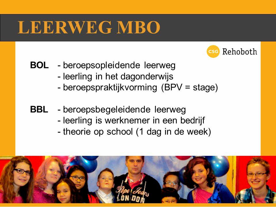 LEERWEG MBO BOL- beroepsopleidende leerweg - leerling in het dagonderwijs - beroepspraktijkvorming (BPV = stage) BBL- beroepsbegeleidende leerweg - leerling is werknemer in een bedrijf - theorie op school (1 dag in de week)