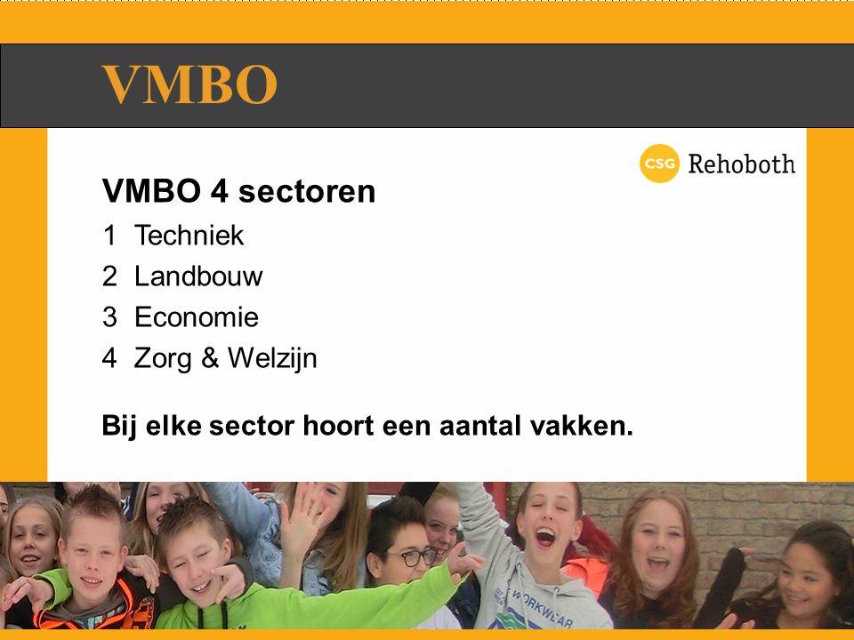 VMBO 4 sectoren 1Techniek 2Landbouw 3Economie 4Zorg & Welzijn VMBO Bij elke sector hoort een aantal vakken.