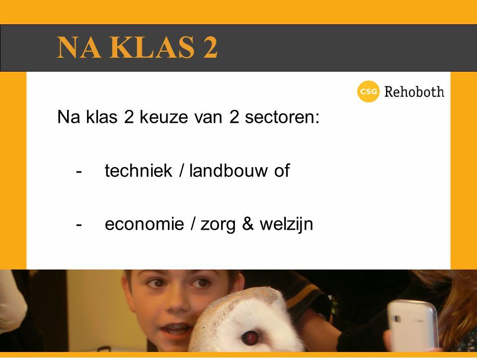 Na klas 2 keuze van 2 sectoren: -techniek / landbouw of -economie / zorg & welzijn NA KLAS 2