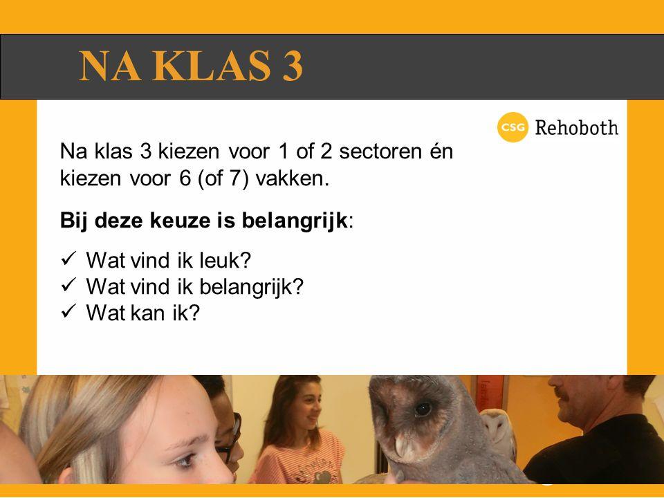 NA KLAS 3 Na klas 3 kiezen voor 1 of 2 sectoren én kiezen voor 6 (of 7) vakken.