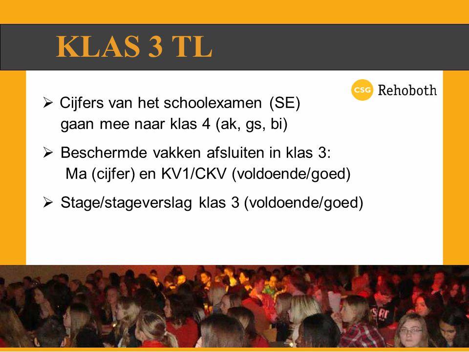 KLAS 3 TL  Cijfers van het schoolexamen (SE) gaan mee naar klas 4 (ak, gs, bi)  Beschermde vakken afsluiten in klas 3: Ma (cijfer) en KV1/CKV (voldoende/goed)  Stage/stageverslag klas 3 (voldoende/goed)