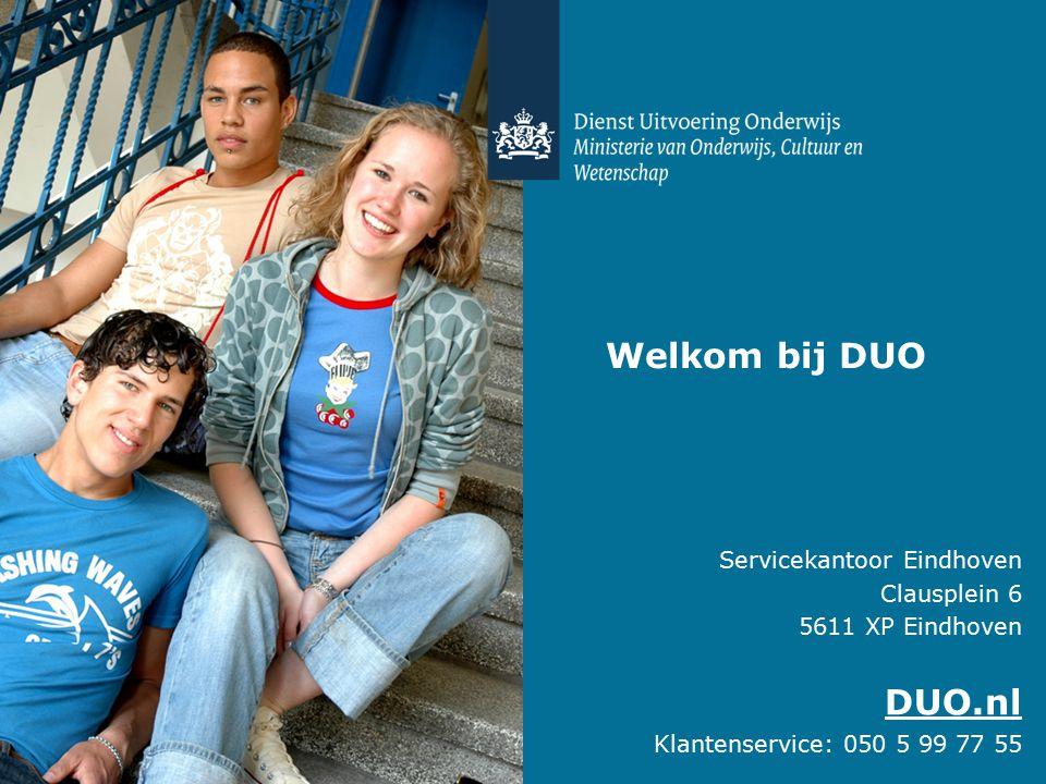 Servicekantoor Eindhoven Clausplein 6 5611 XP Eindhoven DUO.nl Klantenservice: 050 5 99 77 55 Welkom bij DUO