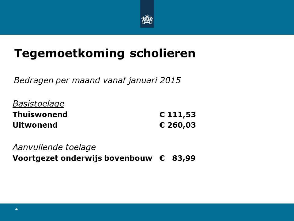 4 Bedragen per maand vanaf januari 2015 Basistoelage Thuiswonend€ 111,53 Uitwonend€ 260,03 Aanvullende toelage Voortgezet onderwijs bovenbouw€ 83,99 T