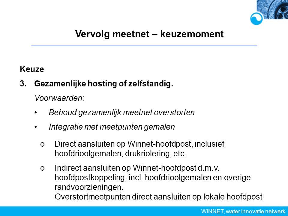 Vervolg meetnet – keuzemoment WINNET, water innovatie netwerk Keuze 3.