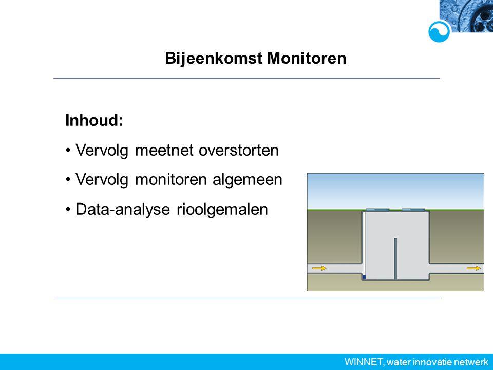 Bijeenkomst Monitoren WINNET, water innovatie netwerk Inhoud: Vervolg meetnet overstorten Vervolg monitoren algemeen Data-analyse rioolgemalen