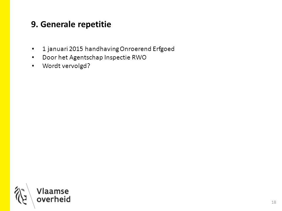 18 9. Generale repetitie 1 januari 2015 handhaving Onroerend Erfgoed Door het Agentschap Inspectie RWO Wordt vervolgd?
