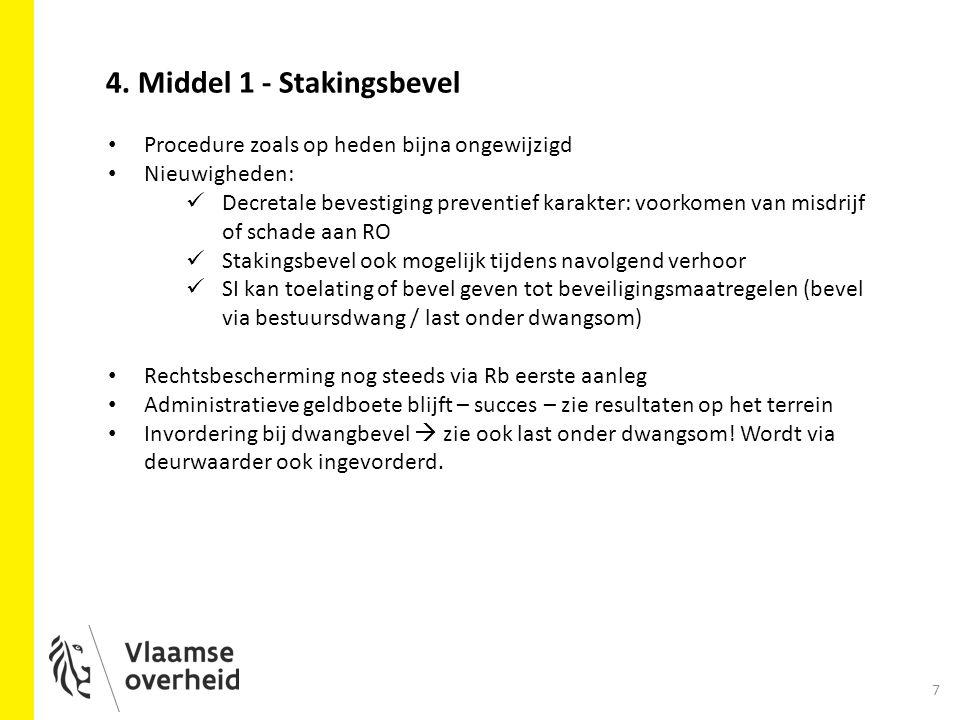 7 4. Middel 1 - Stakingsbevel Procedure zoals op heden bijna ongewijzigd Nieuwigheden: Decretale bevestiging preventief karakter: voorkomen van misdri