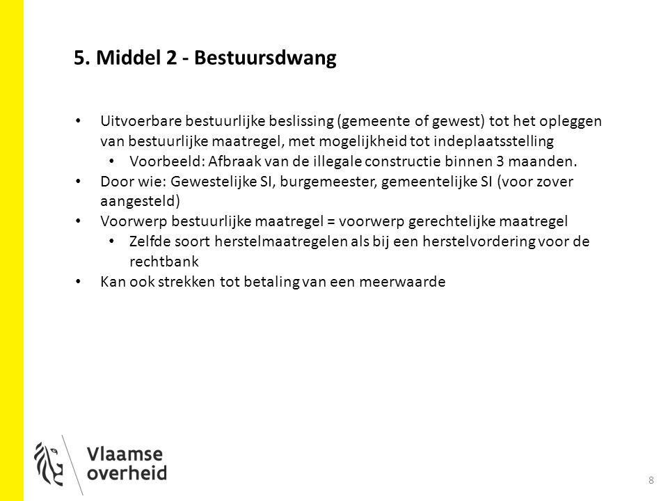 8 5. Middel 2 - Bestuursdwang Uitvoerbare bestuurlijke beslissing (gemeente of gewest) tot het opleggen van bestuurlijke maatregel, met mogelijkheid t