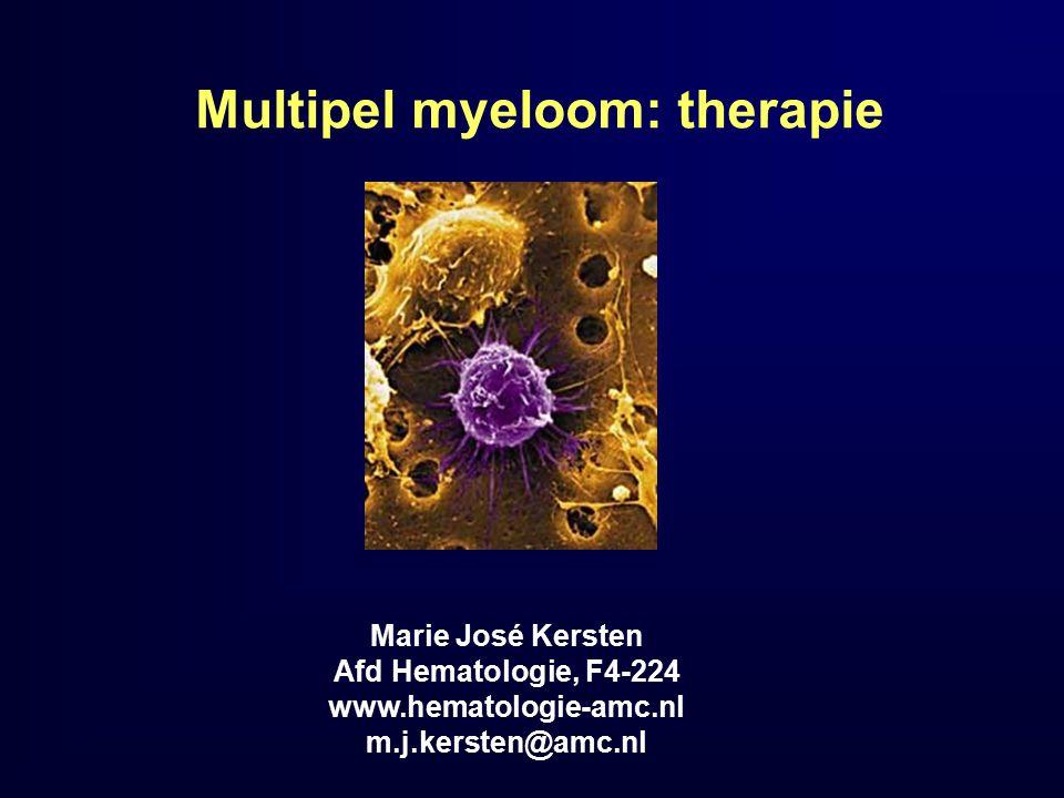 MM: cytogenetische afwijkingen en therapie Cytogenetica: – Gunstig: t(11;14), hyperdiploid – Ongunstig: o.a.