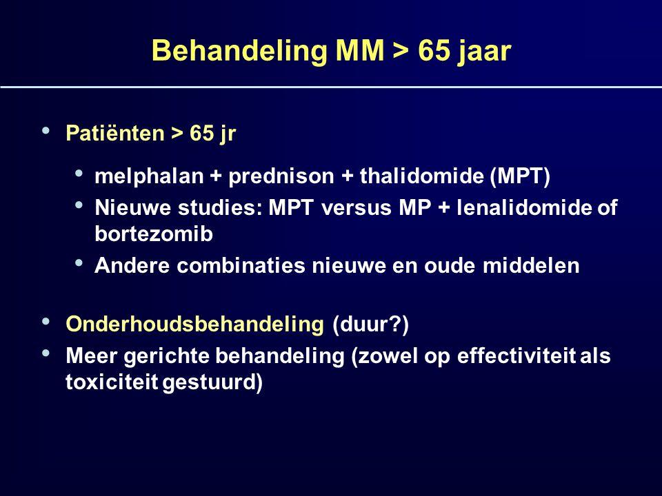 Behandeling MM > 65 jaar Patiënten > 65 jr melphalan + prednison + thalidomide (MPT) Nieuwe studies: MPT versus MP + lenalidomide of bortezomib Andere