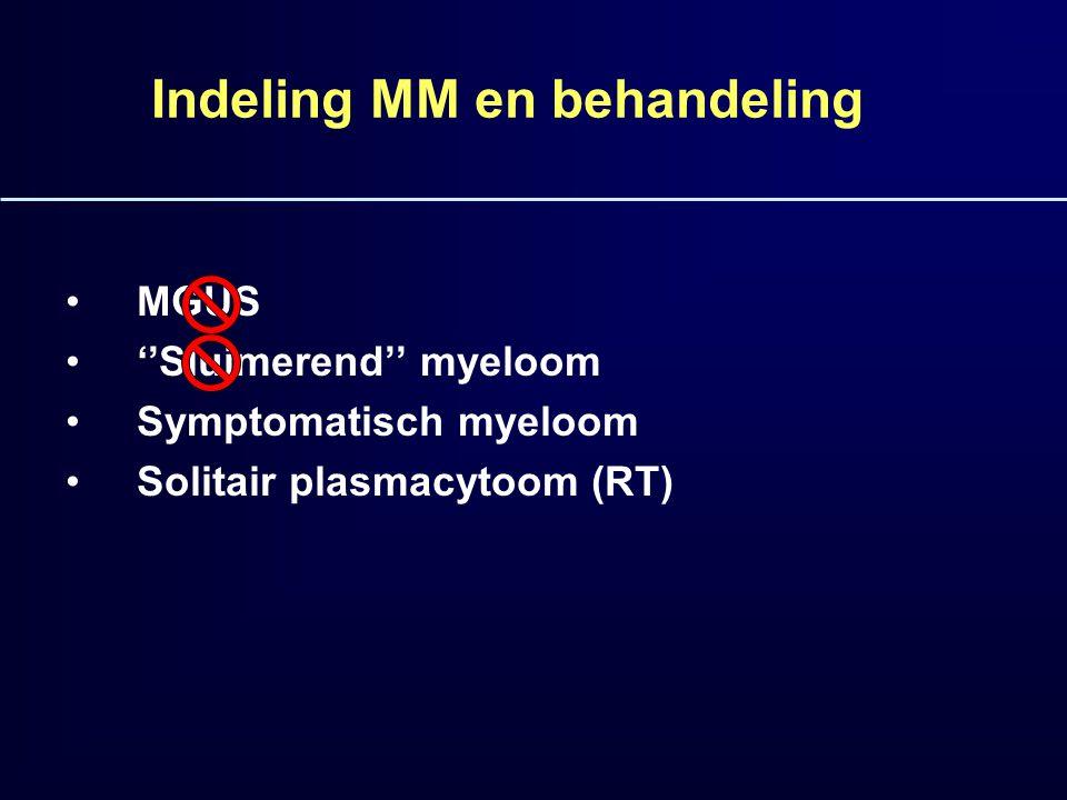 13 Prognose MM: invloed nieuwe middelen 2001-2006 Voor 2000 Na 2000 Mediane OS3648 Mediane OS <653974 Mediane OS >652633 Mediane overleving met intensieve therapie 5-7 jaar; geen curatie…