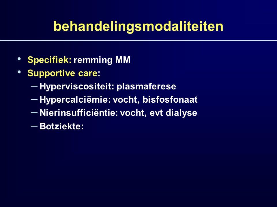 behandelingsmodaliteiten Specifiek: remming MM Supportive care: – Hyperviscositeit: plasmaferese – Hypercalciëmie: vocht, bisfosfonaat – Nierinsuffici