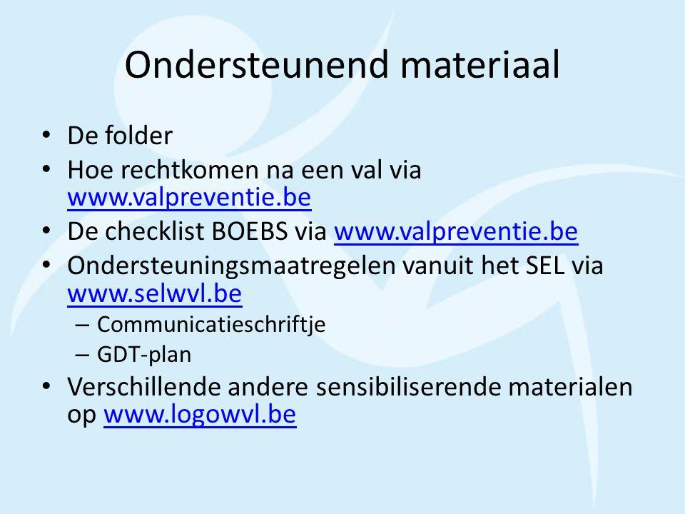 Ondersteunend materiaal De folder Hoe rechtkomen na een val via www.valpreventie.be www.valpreventie.be De checklist BOEBS via www.valpreventie.bewww.