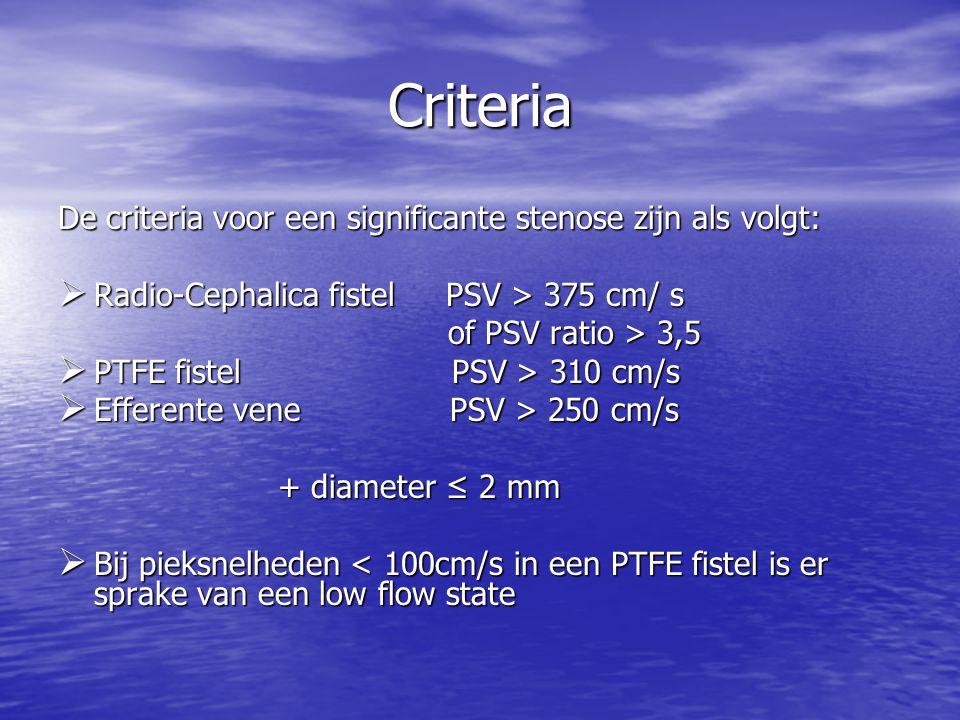 Criteria De criteria voor een significante stenose zijn als volgt:  Radio-Cephalica fistel PSV > 375 cm/ s of PSV ratio > 3,5 of PSV ratio > 3,5  PTFE fistel PSV > 310 cm/s  Efferente vene PSV > 250 cm/s + diameter ≤ 2 mm + diameter ≤ 2 mm  Bij pieksnelheden < 100cm/s in een PTFE fistel is er sprake van een low flow state